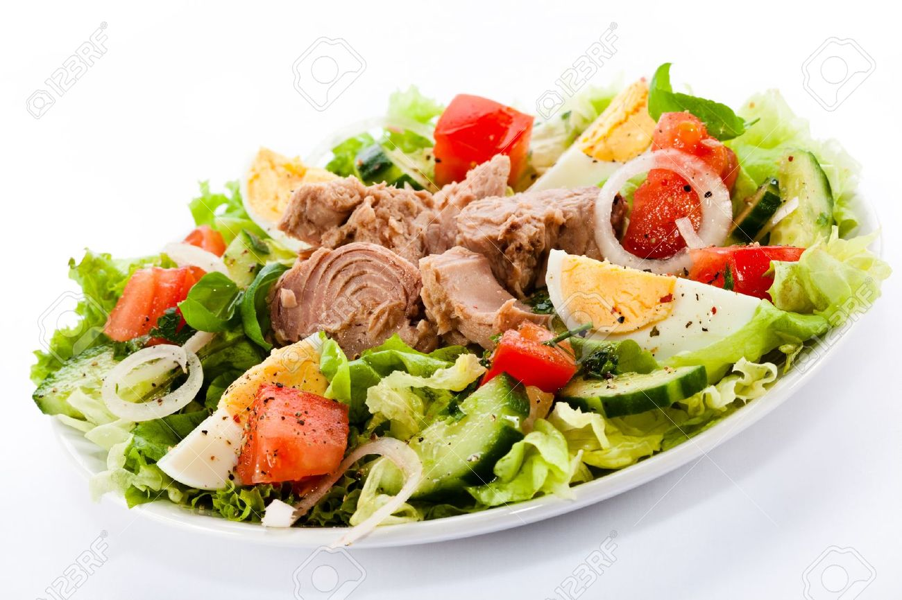salad plate images  stock pictures royalty free salad plate  - salad plate tuna and vegetable salad