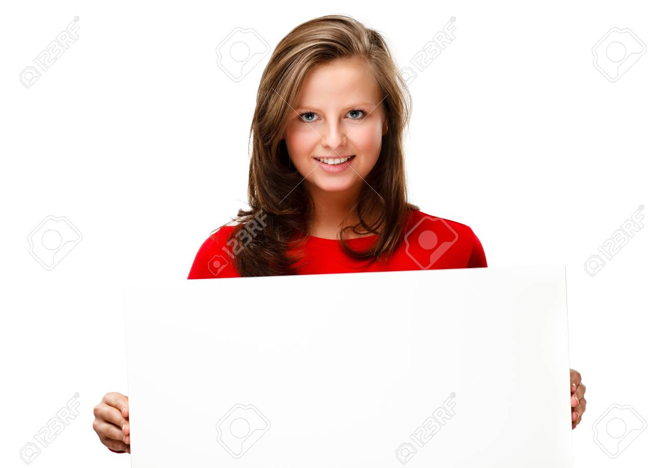 Young attractive girl behind empty board on white background Stock Photo - 17081615