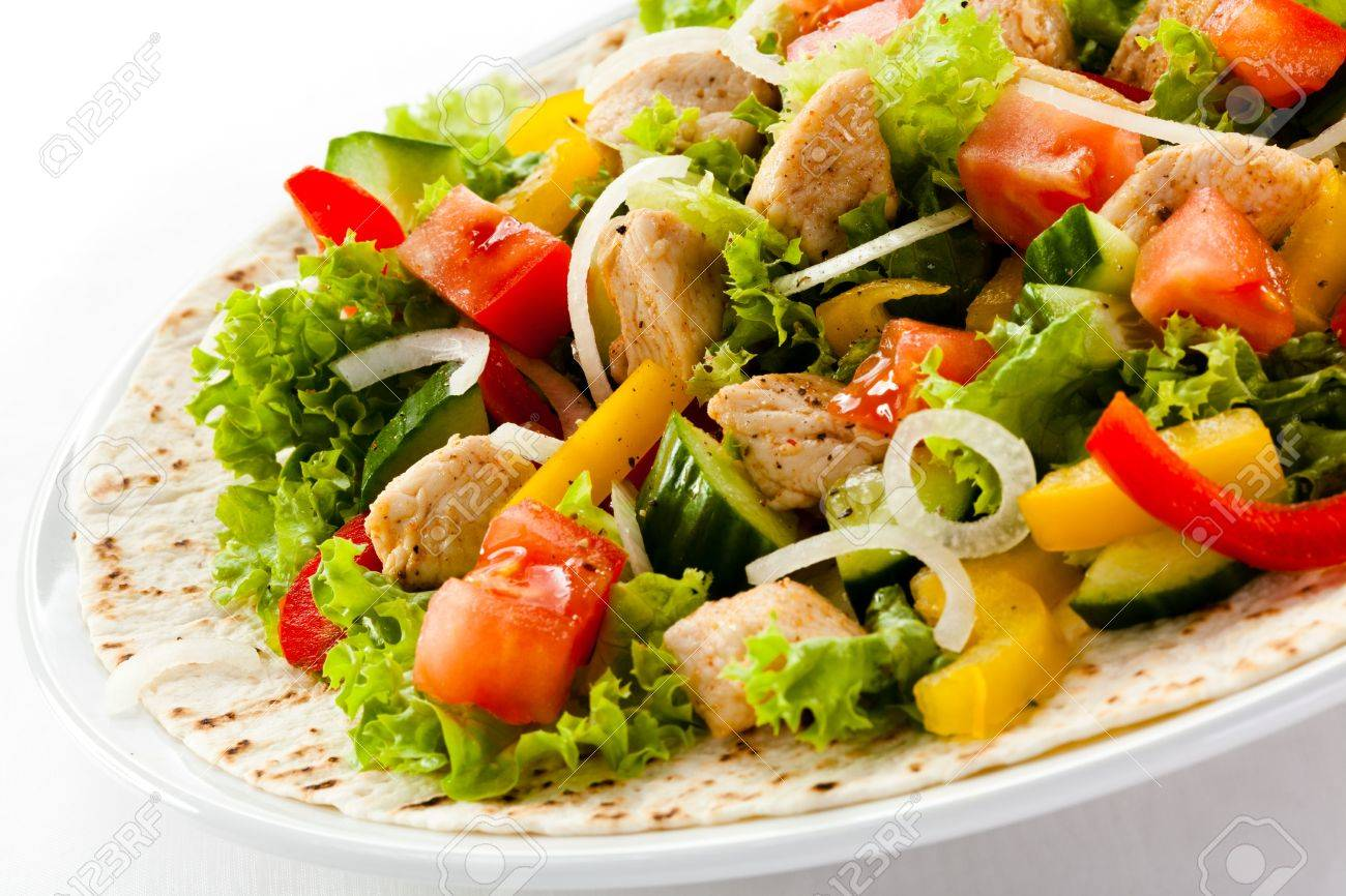 Kebab - grilled meat and vegetables Stock Photo - 18422322