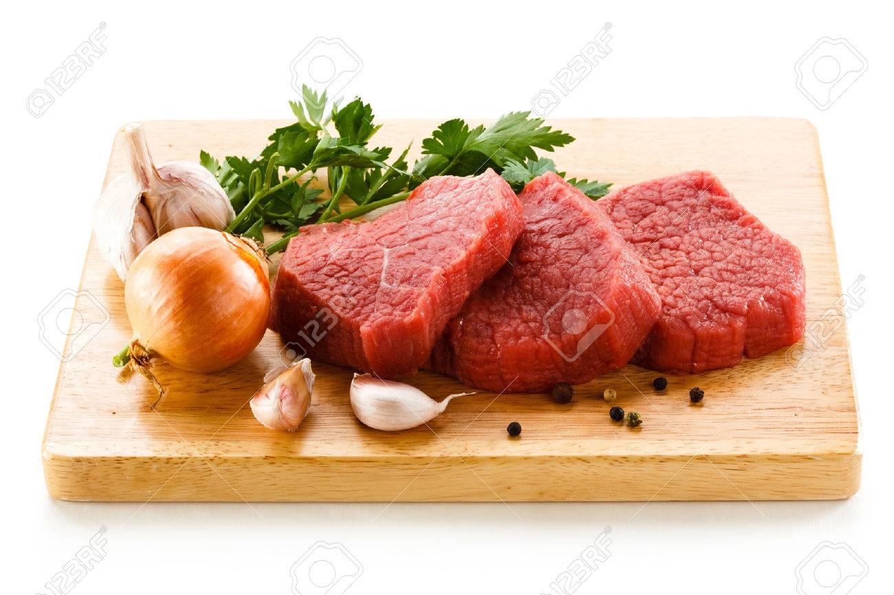 Raw beef on cutting board Stock Photo - 23474850