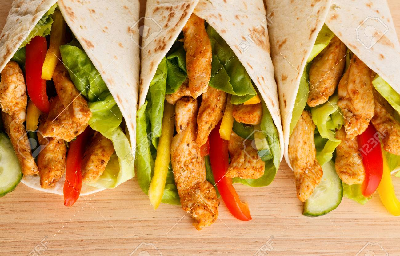 Chicken Kebab Wrap With Vegetables Stock Photo Picture And Royalty Free Image Image 30652938