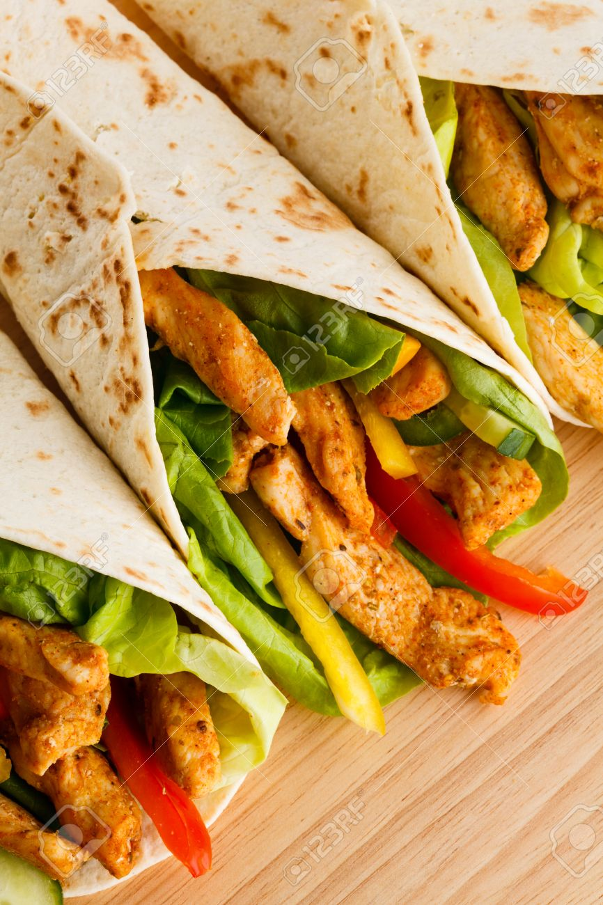 Chicken Kebab Wrap With Vegetables Stock Photo Picture And Royalty Free Image Image 30652937