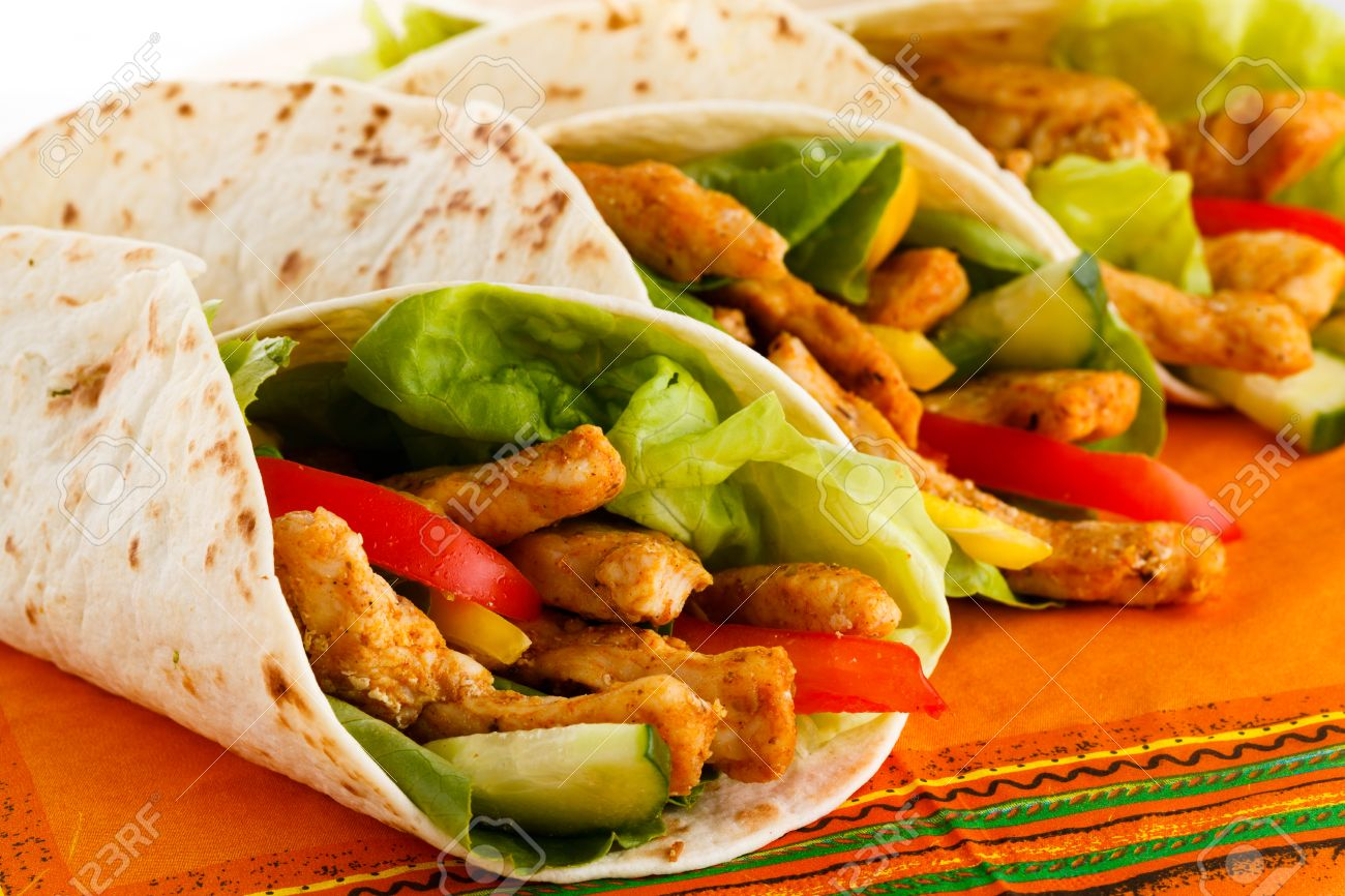 Chicken Kebab Wrap With Vegetables Stock Photo Picture And Royalty Free Image Image 30652940