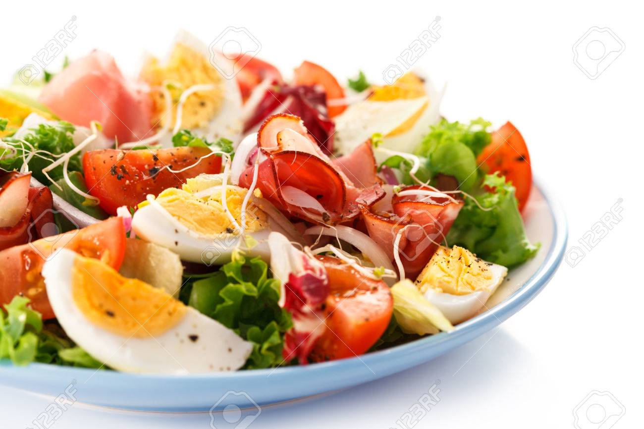 salad - boiled eggs, smoked ham and vegetables - 52493385