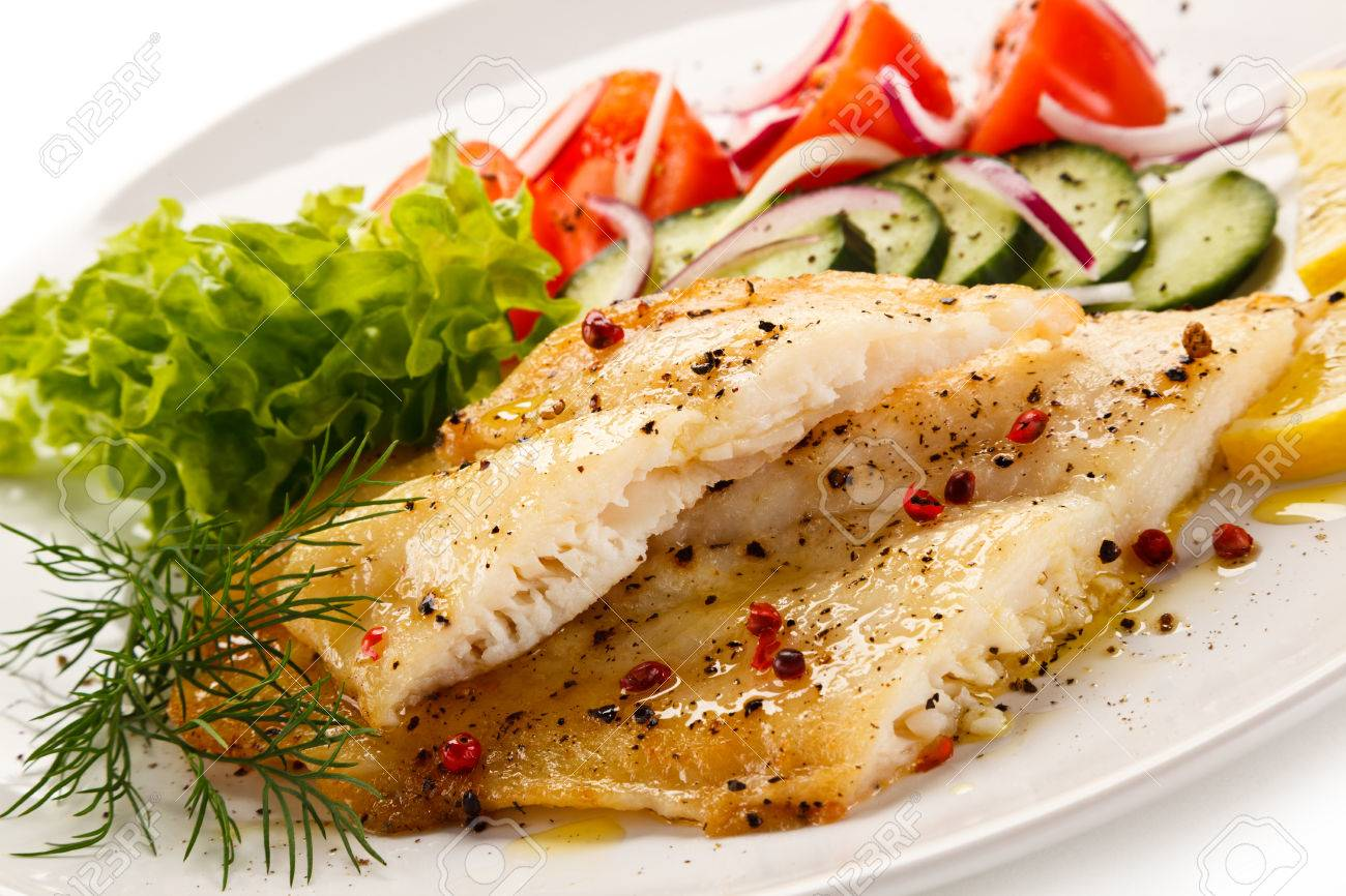 Fish dish - roast cod fillet and vegetables - 59628933