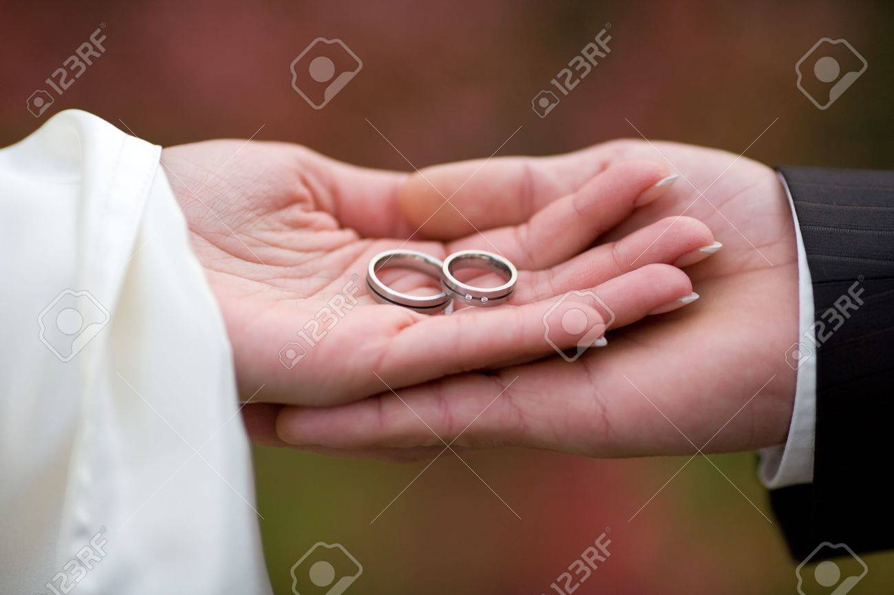 Wedding-rings In The Palms Of The Married Couple. Small DOF! Stock ...