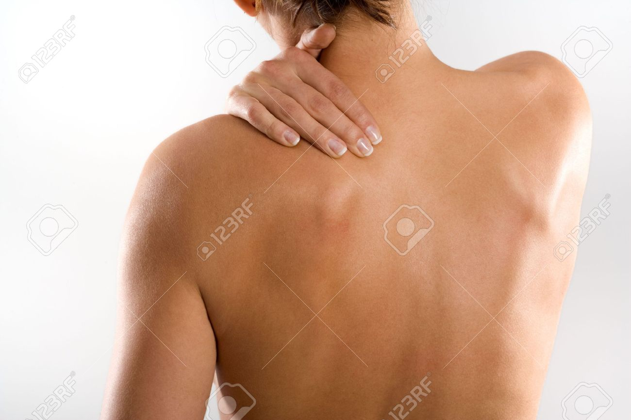 Frau Von Hinten, Nackte Körper, Hält Den Hals Auf Der Linken Seite ...