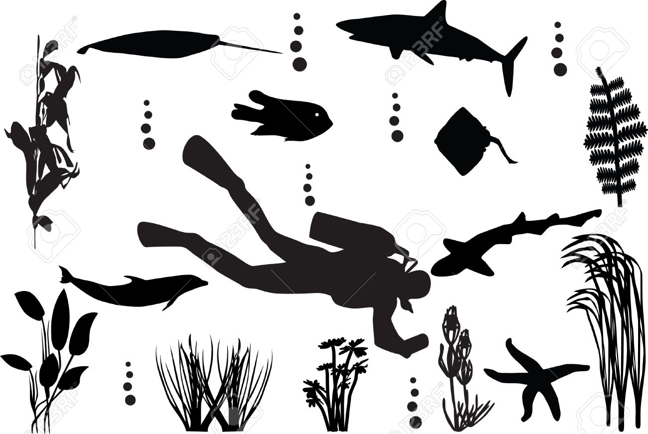 sea seamless with fishes silhouette - 5537347