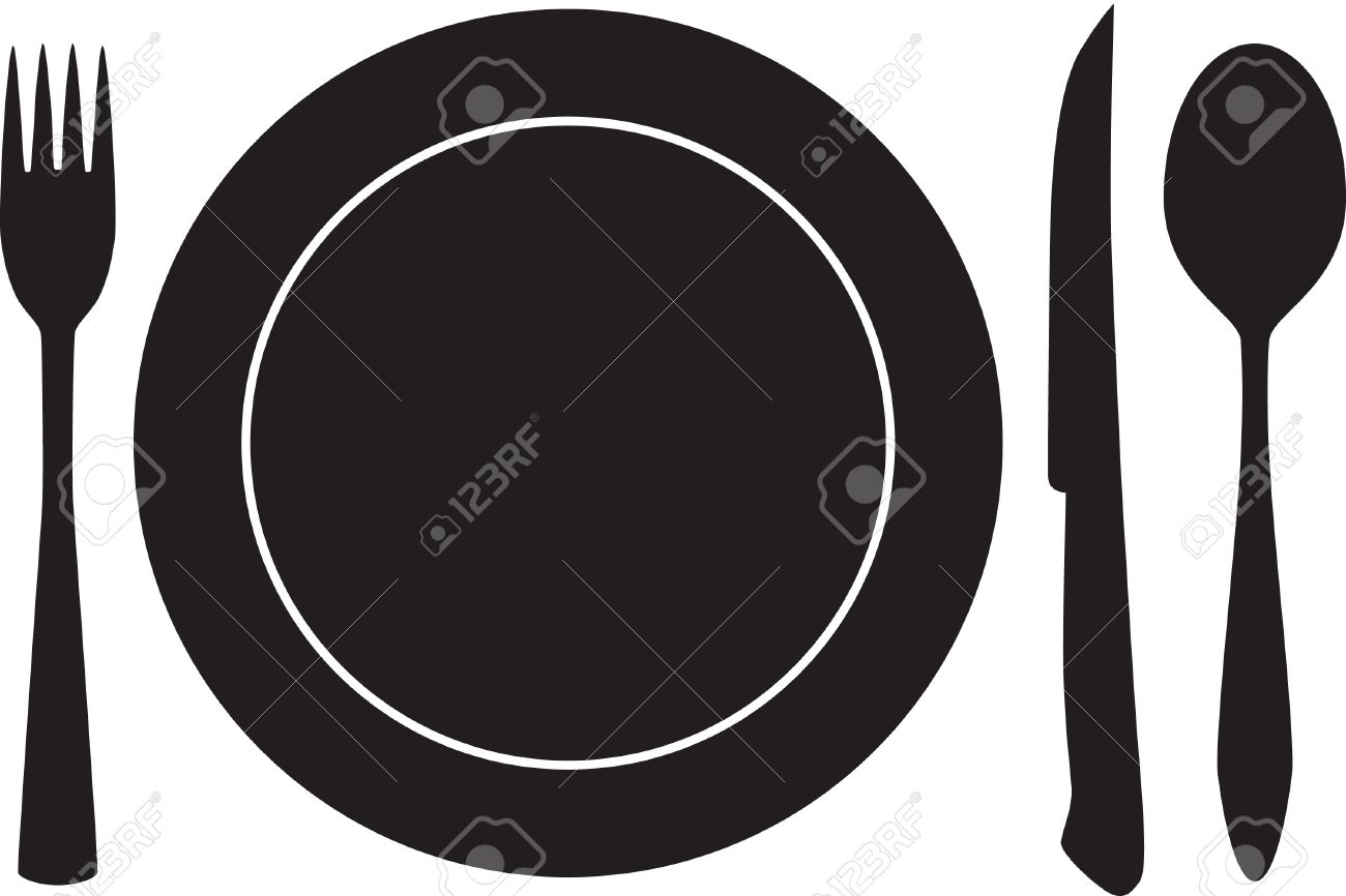 plateful, fork, spoon and knife silhouette Stock Vector - 5964864