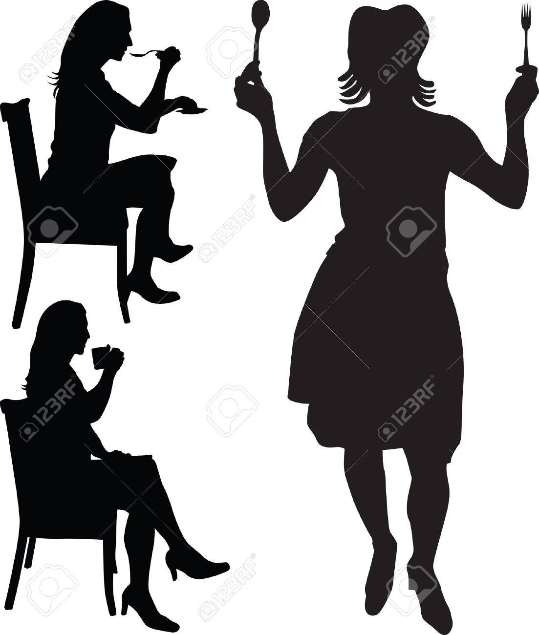 woman eat and drink silhouette Stock Vector - 6505281