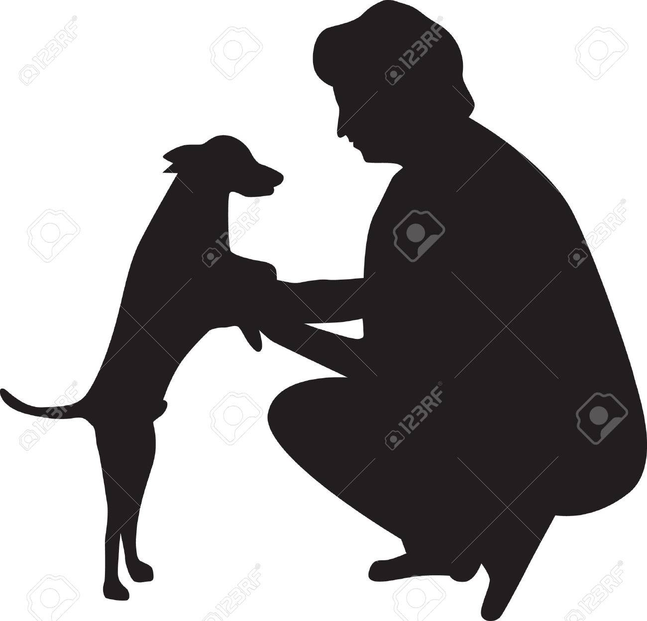 woman and dog silhouette Stock Vector - 7000524