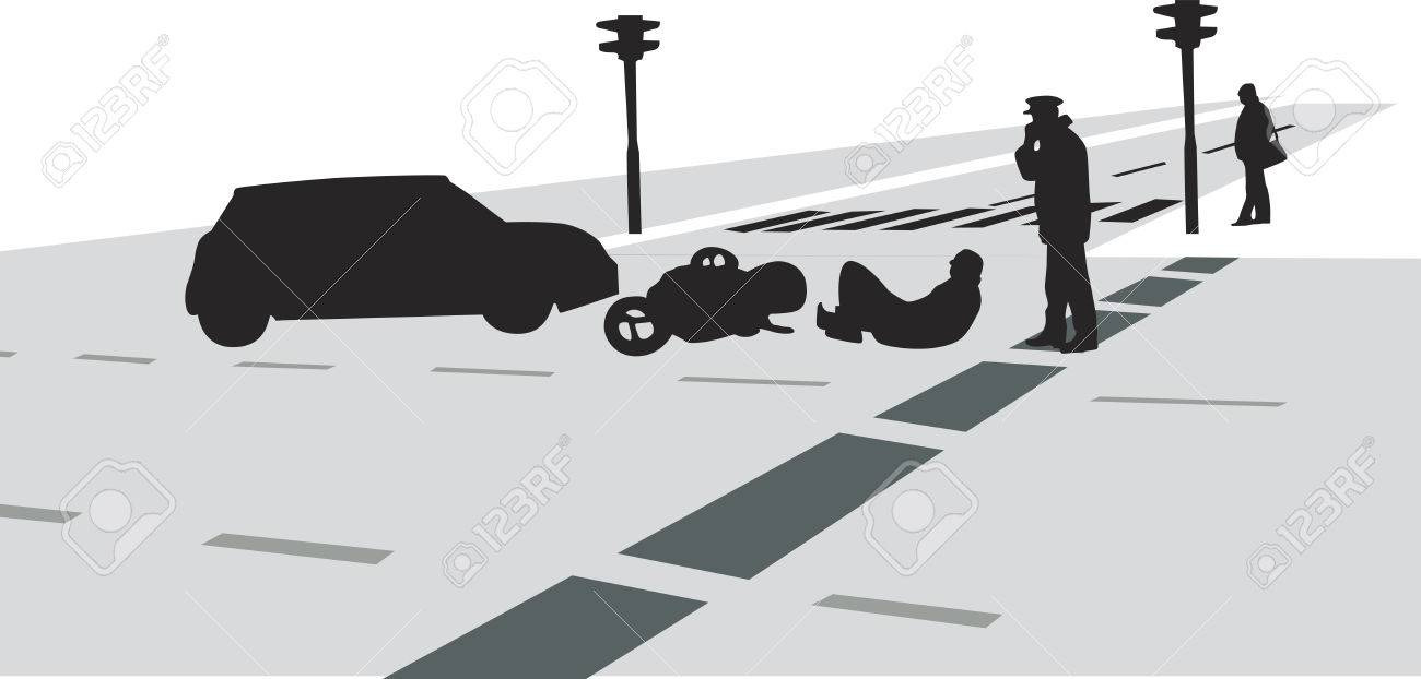 Traffic Accident With Car And Motorcycle Silhouette Vector Royalty ...
