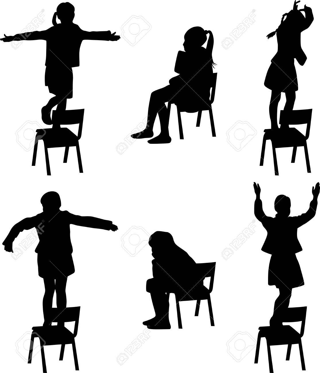 Magnificent Dance Kids On The Chair Silhouette Vector Ncnpc Chair Design For Home Ncnpcorg