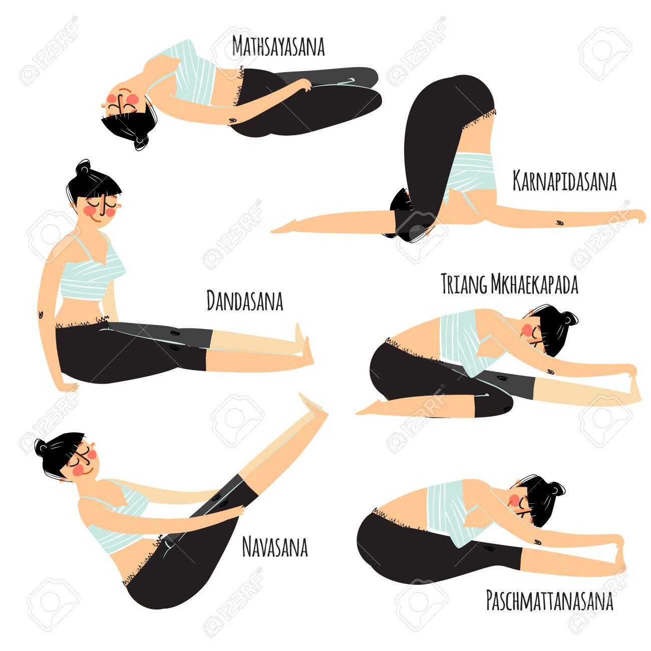 Yoga Posture Set Avec Vaus Femme Dessin Anime Exercice Yoga