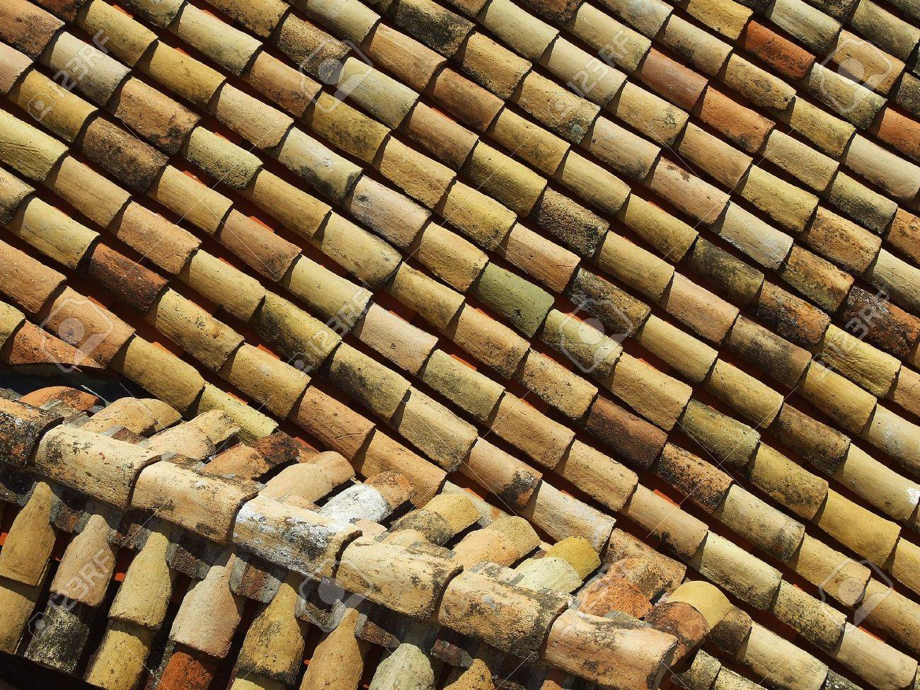 roof covering of ceramic rustic tiles aerial view background stock photo 7071950 - Roof Covering