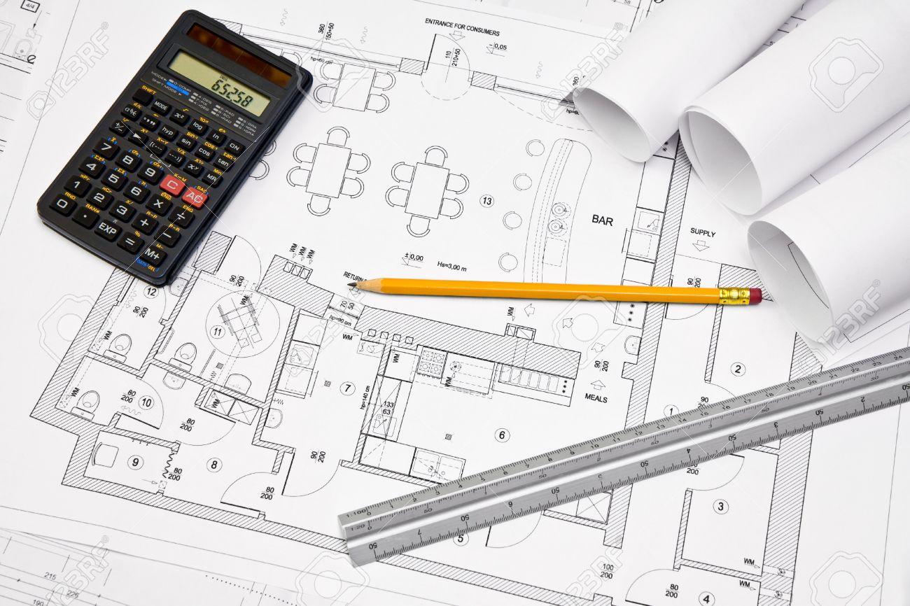 Calculadora Regla Y L Piz En La Escala De Planos De Dibujo