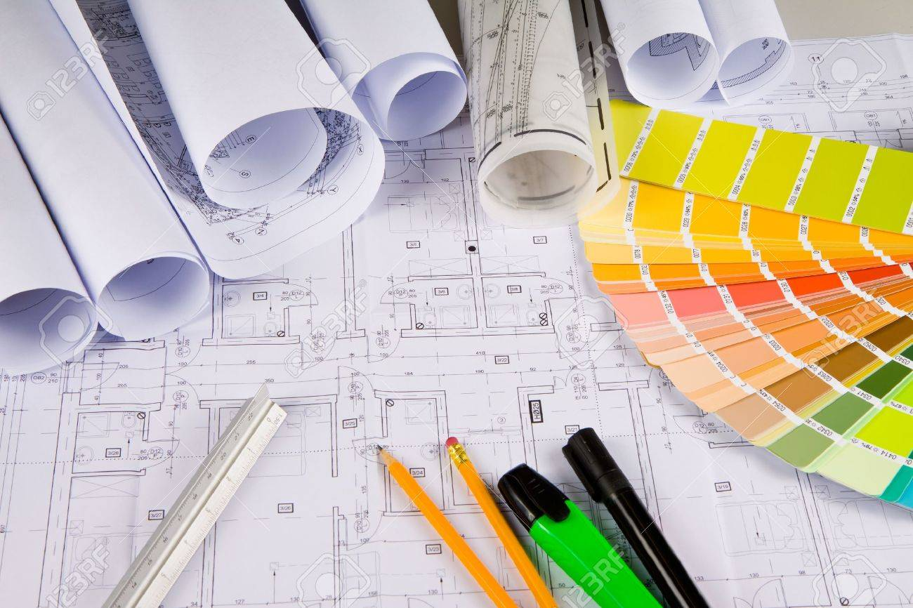 Architectural Drawing, Colors Sample, Office Stuff Stock Photo ...