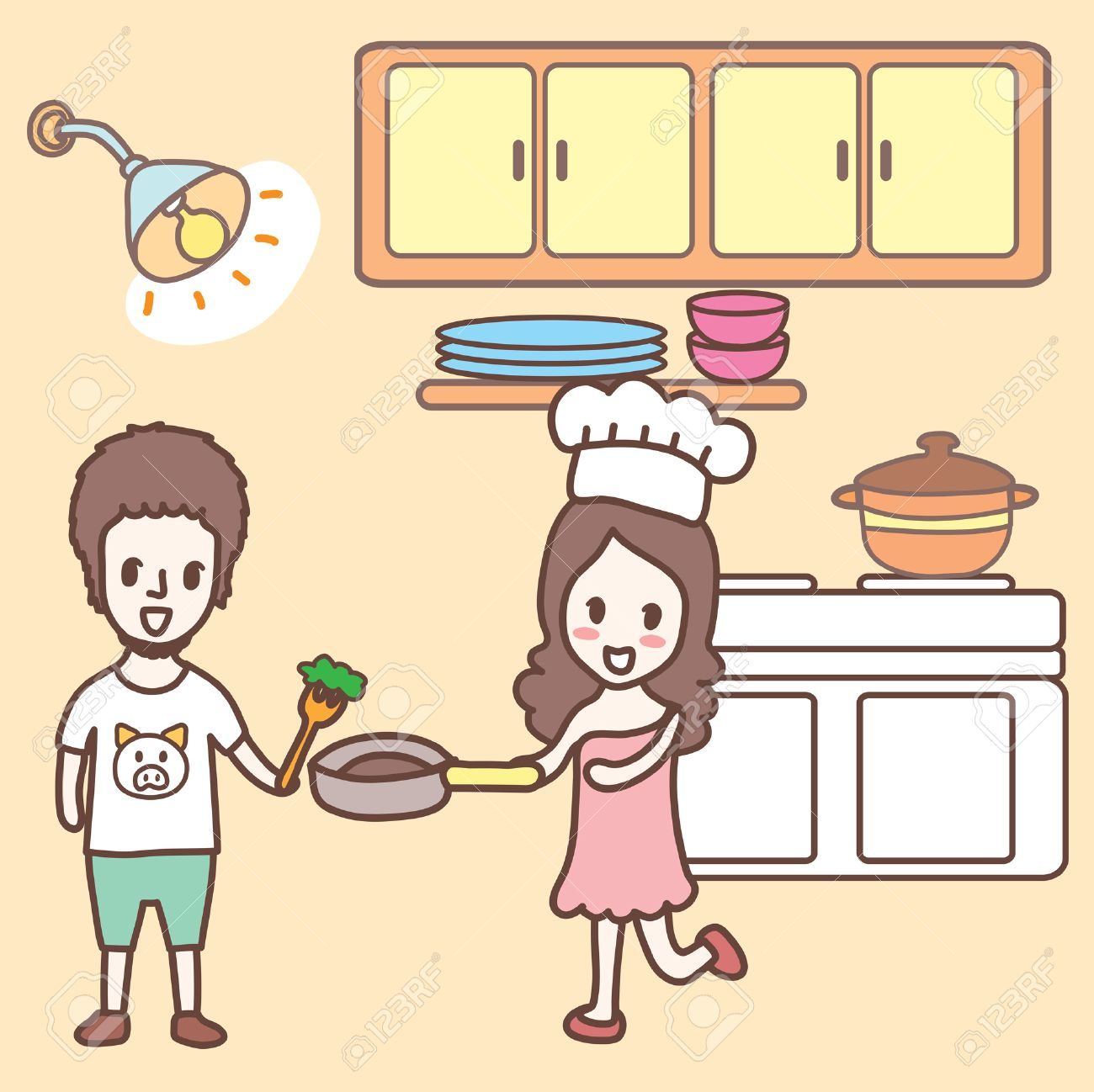 Couple Cooking Together Cartoon Royalty Free Cliparts Vectors And Stock Illustration Image 31403162