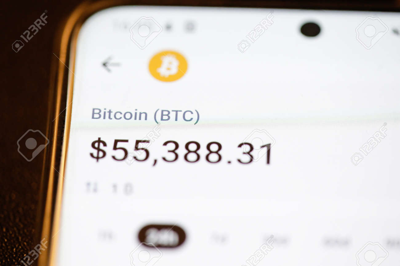 Bucharest, Romania - March 16, 2021: Details with the Bitcoin cryptocurrency value on a mobile phone display. - 166475959
