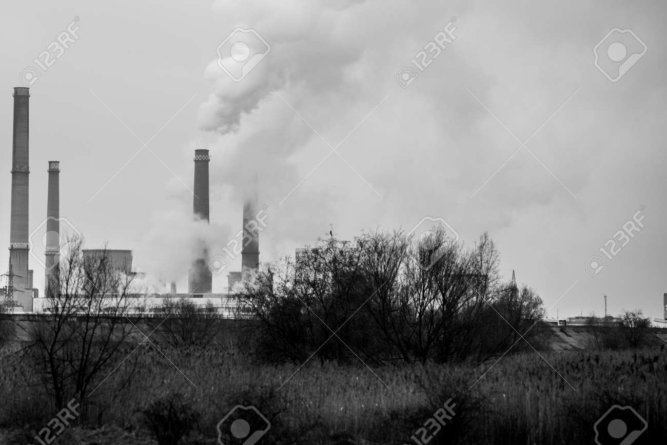 Thermal power station during a cold winter day in Bucharest. - 166158310