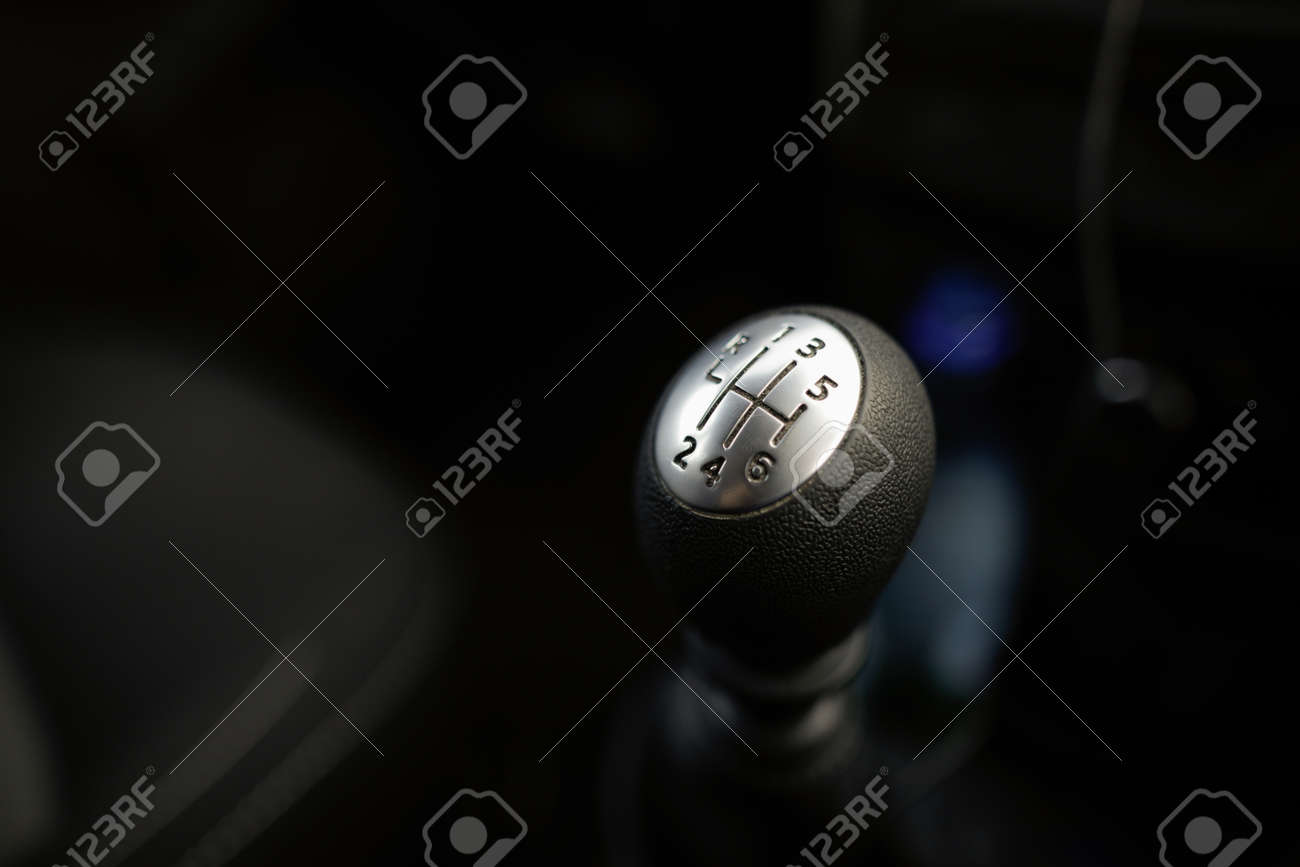 Details with a gear shift knob of a manual gearbox car - 167384770