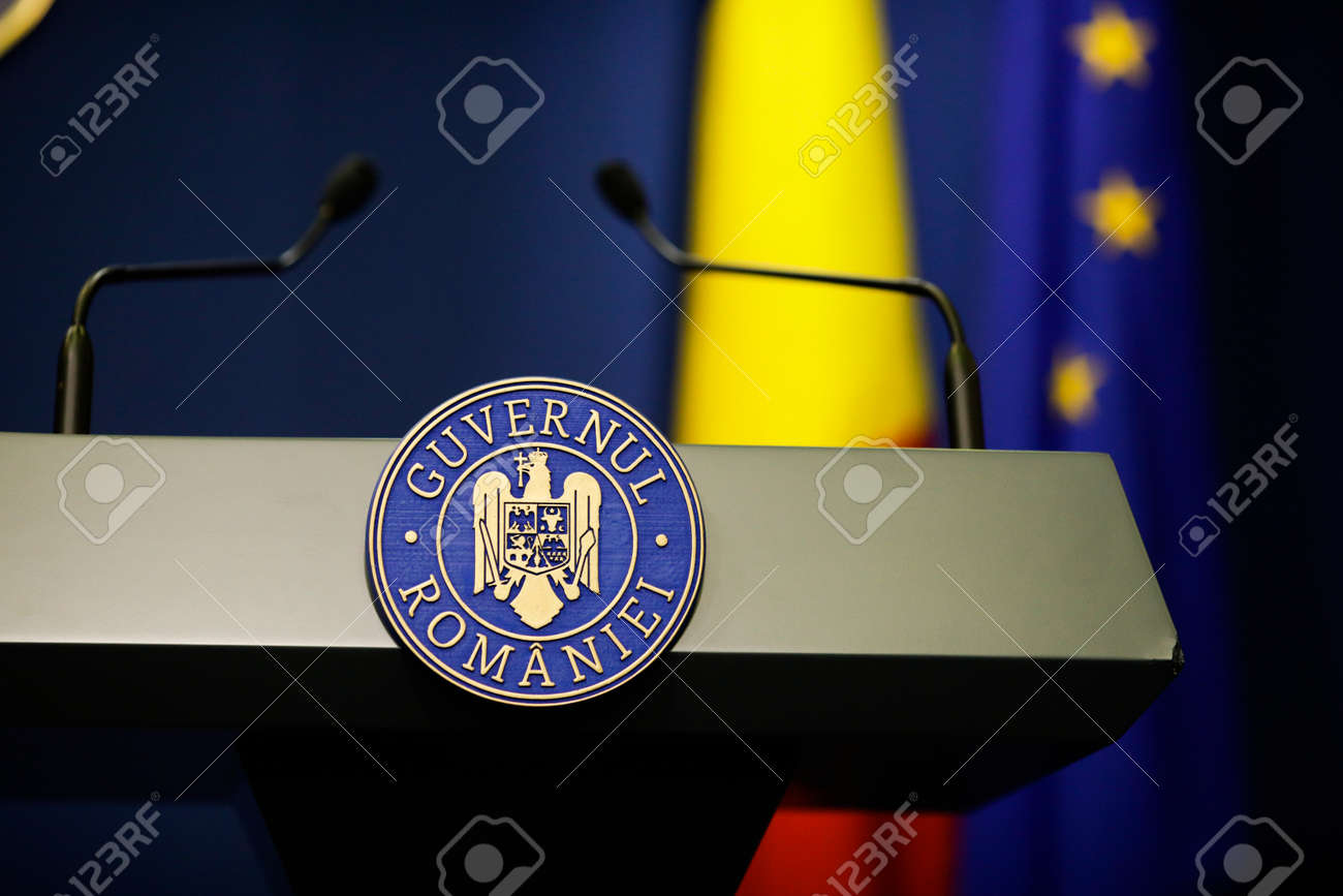 Bucharest, Romania - April 17, 2021: Details with the Romanian Government logo during a press conference held by a politician. - 167659222