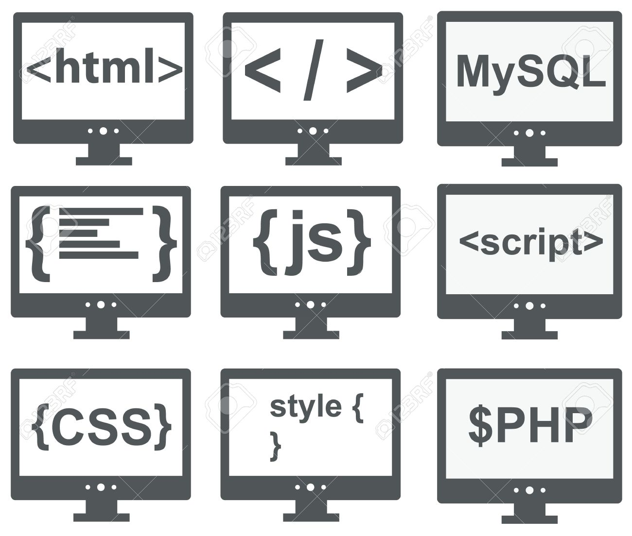 Vector Collection Of Web Development Icons Html, Css, Tag, Mysql ...