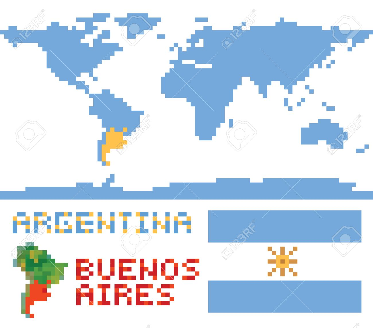 Argentina on world map border shape flag and capital buenos argentina on world map border shape flag and capital buenos aires isolated on white stock gumiabroncs Gallery