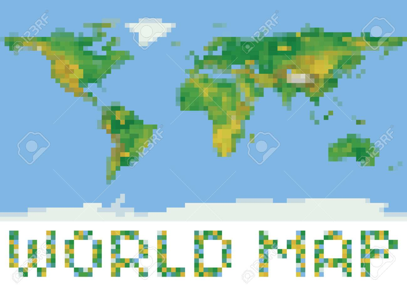 Pixel Art Style World Physical Map With Green And Yellow Relief ...