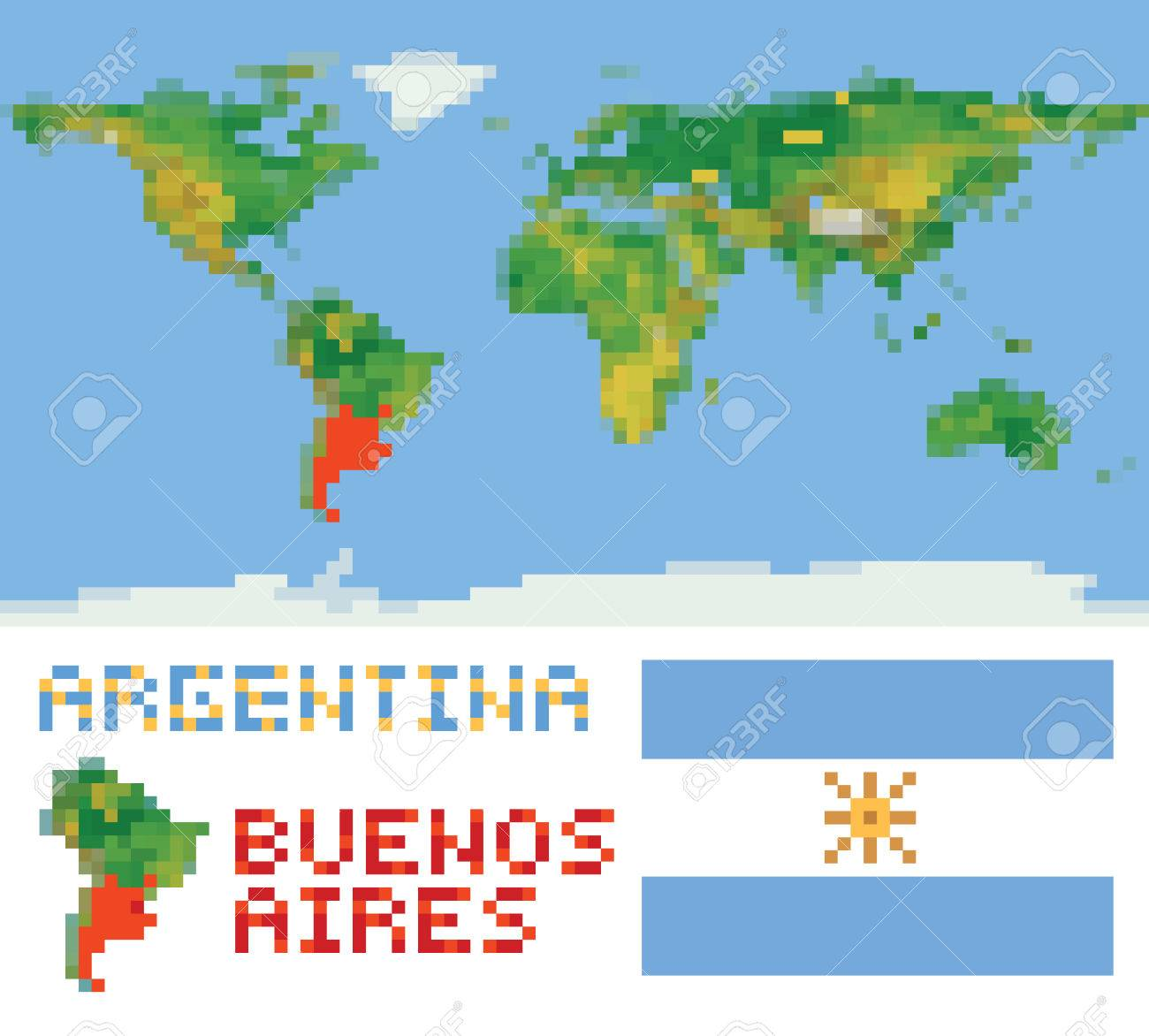 Argentina On Physical World Map Shape Flag And Capital Buenos - Physical map of argentina