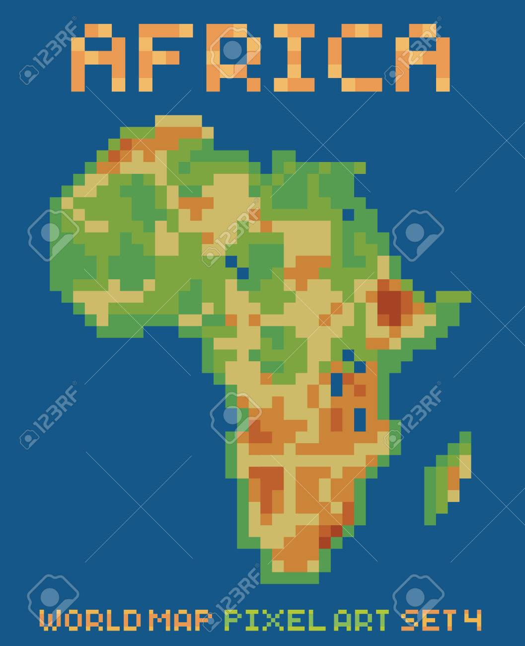 Pixel art style illustration of africa physical world map isolated pixel art style illustration of africa physical world map isolated on dark blue stock vector gumiabroncs Gallery
