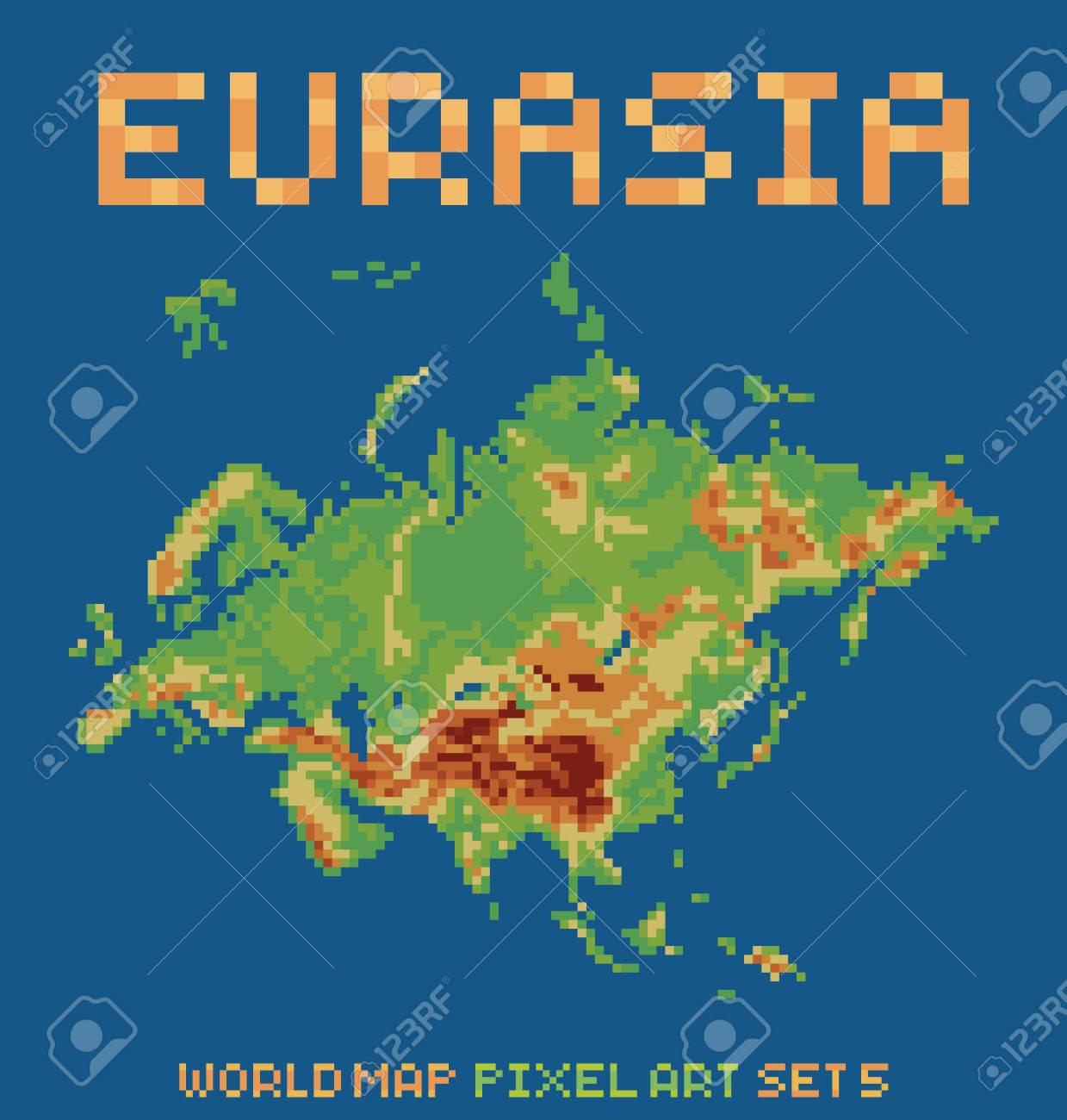 Pixel art style illustration of eurasia physical world map pixel art style illustration of eurasia physical world map isolated on dark blue stock vector gumiabroncs Gallery