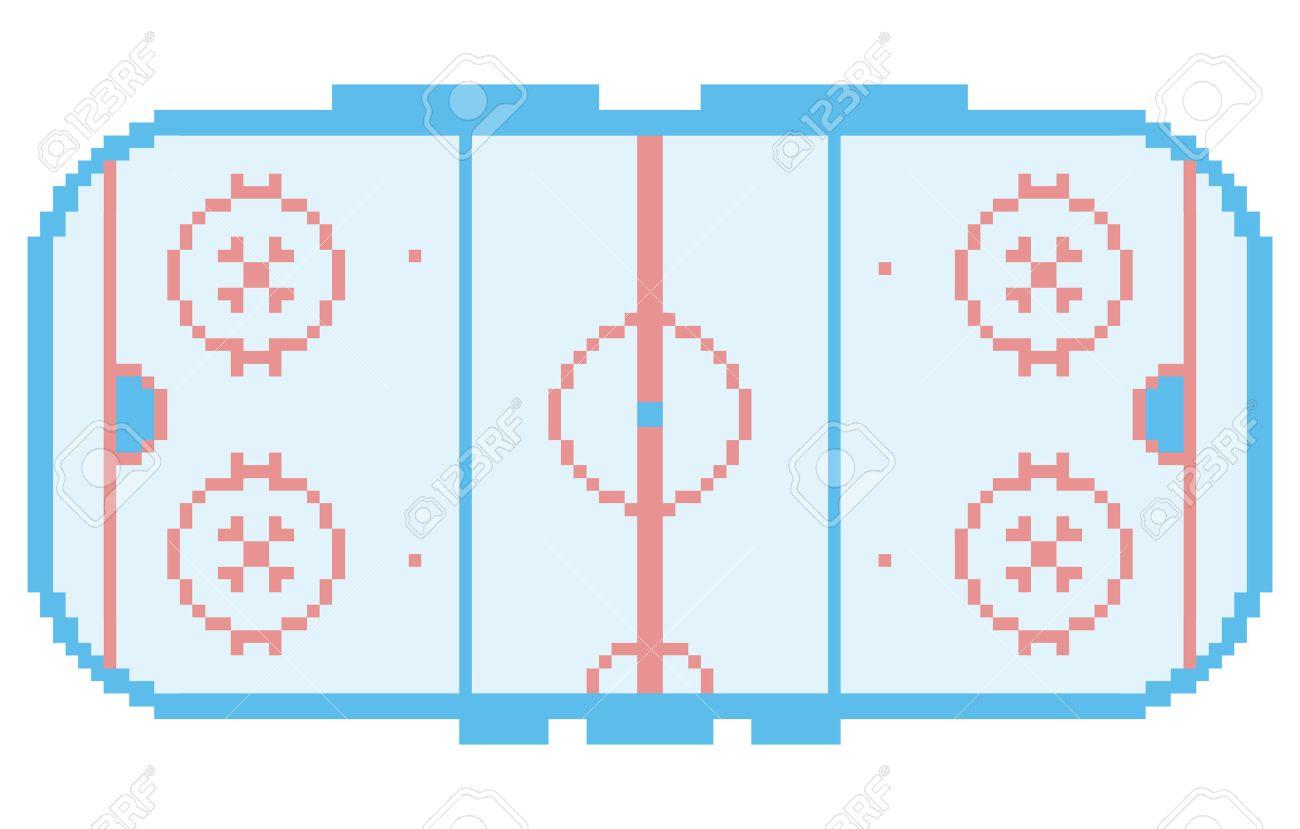 Pixel Art Stade De Hockey Sur Glace Aire De Jeux Cour Style Rétro Illustration Lumière Bleue