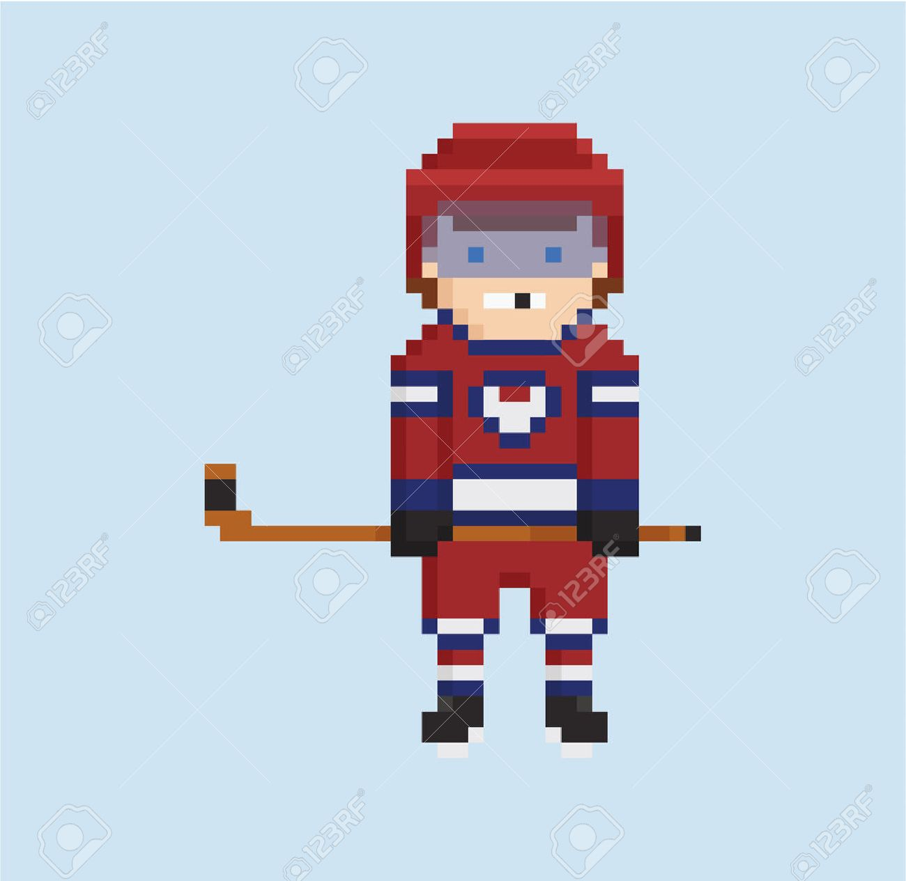 Pixel Art Style Illustration Shows Hockey Player In Red White