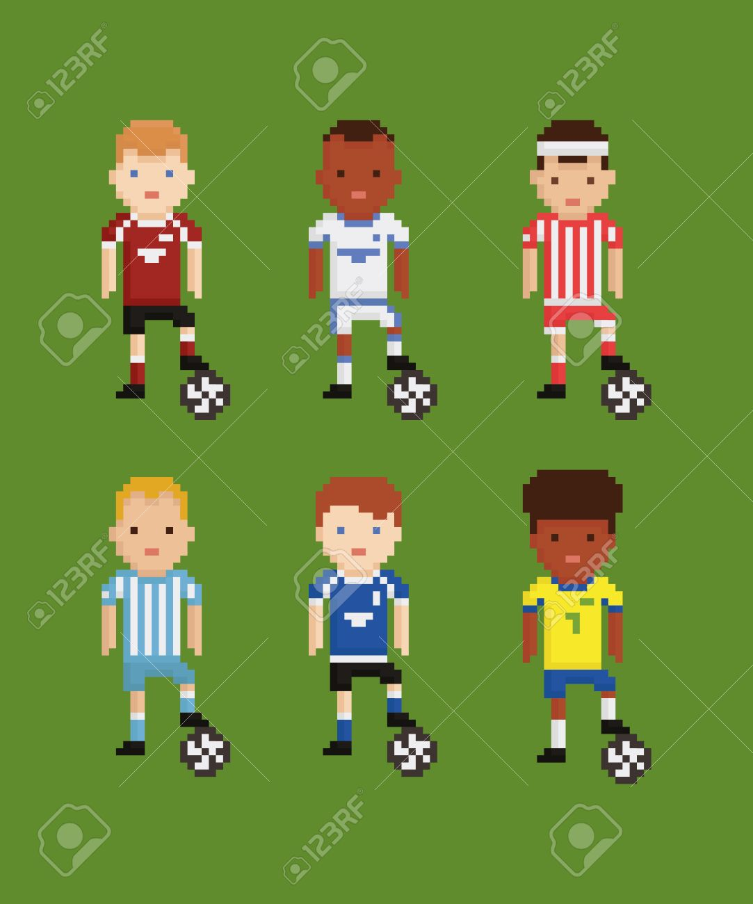 Pixel Art Style Vector Set Football Soccer Players In Different