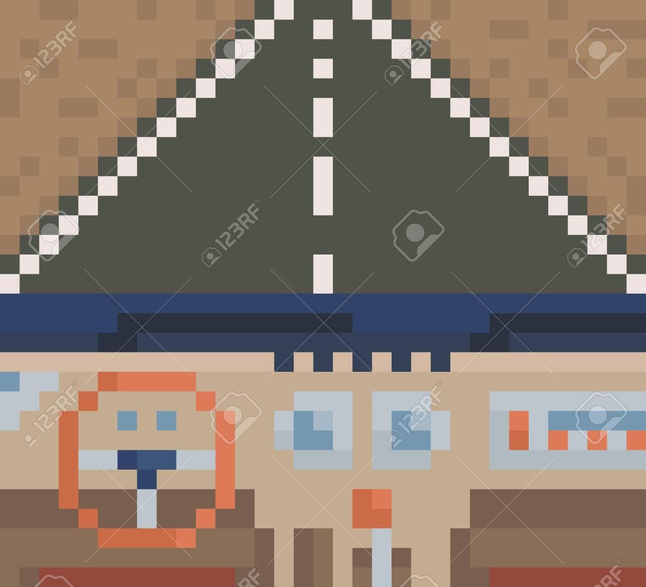 Habitacle De Voiture Vue De Lintérieur De La Voiture Vecteur Pixel Art Illustration Brune