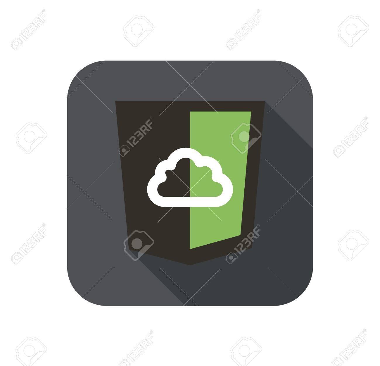Icono De Vectores Escudo Web Con La Nube Para El Nodo Js Marco ...