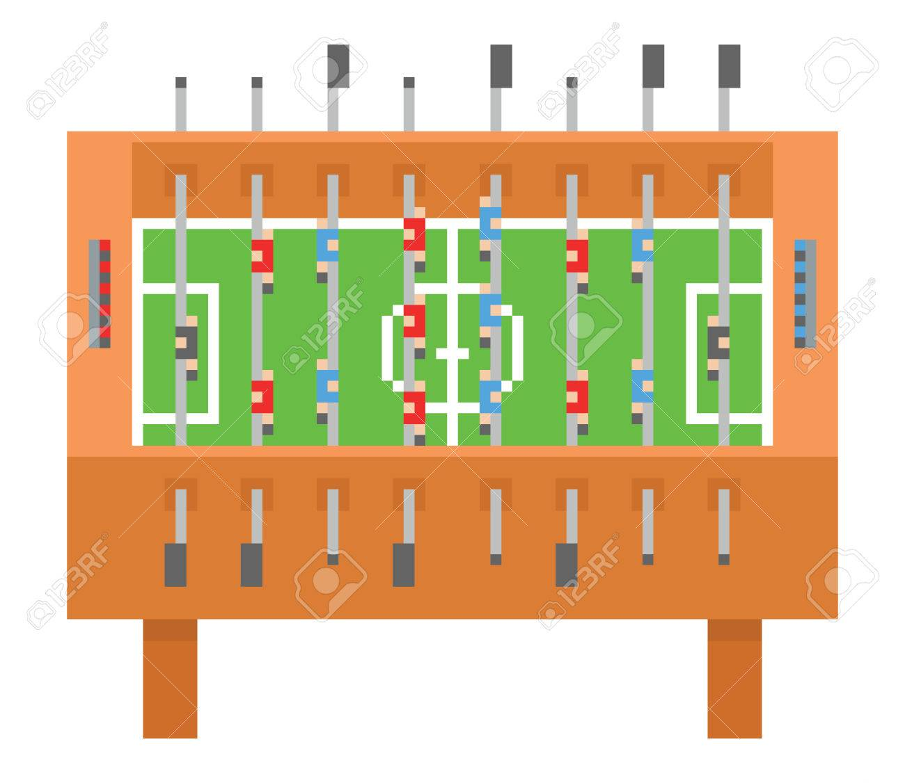 Table Soccer Pixel Art Vector Illustration Kicker Bar Football