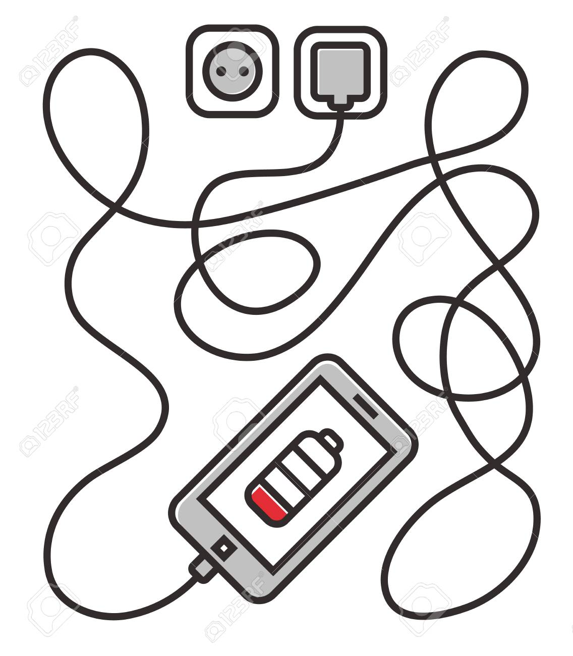 Phone Charging With Long Wire. Smarthone And Line Wire. Minimalism ...