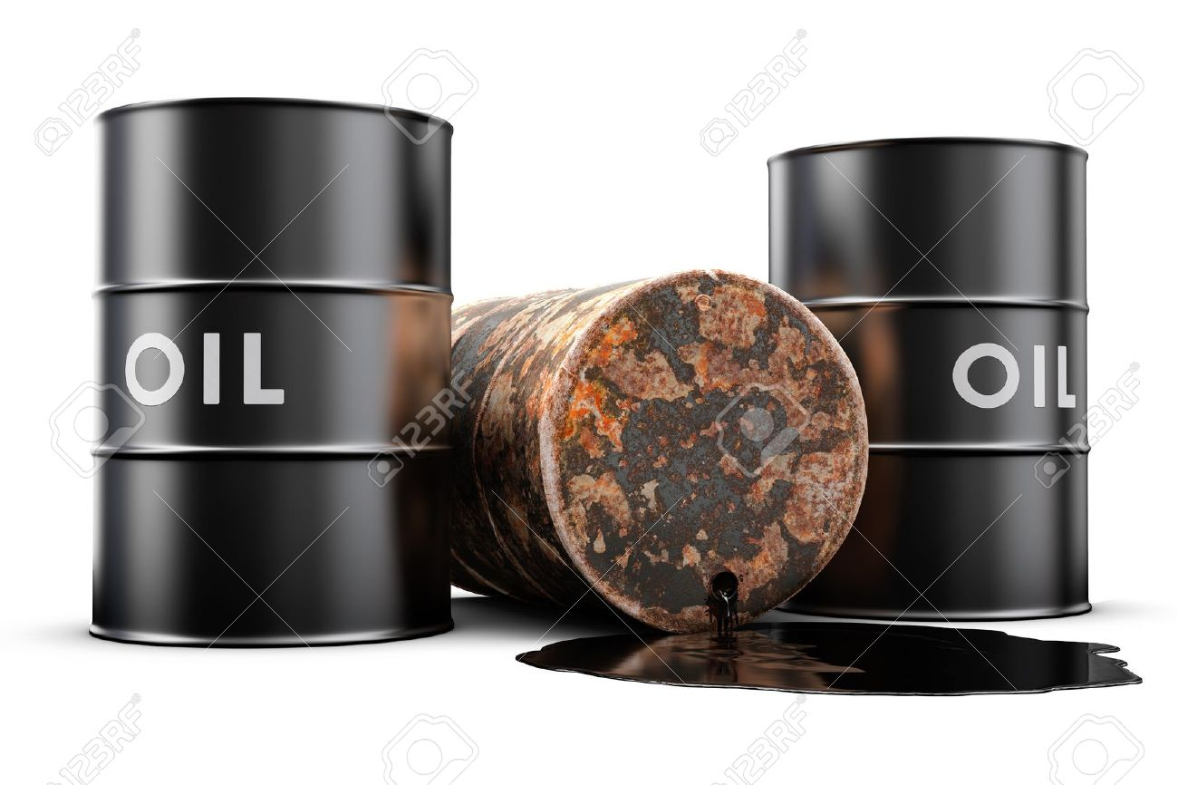 A leaking oil barrel spilling oil on the floor Stock Photo - 11812126