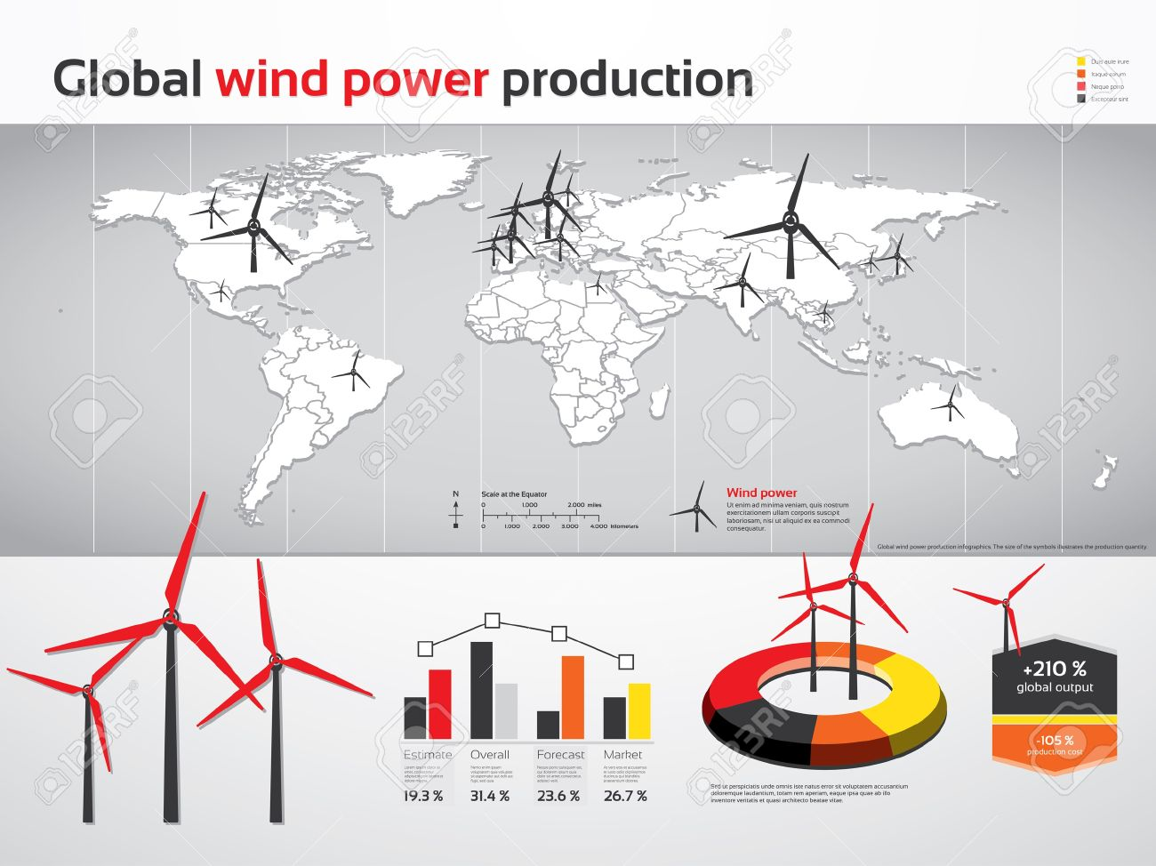 Charts And Graphics For Global Wind Power Production Royalty Free ...
