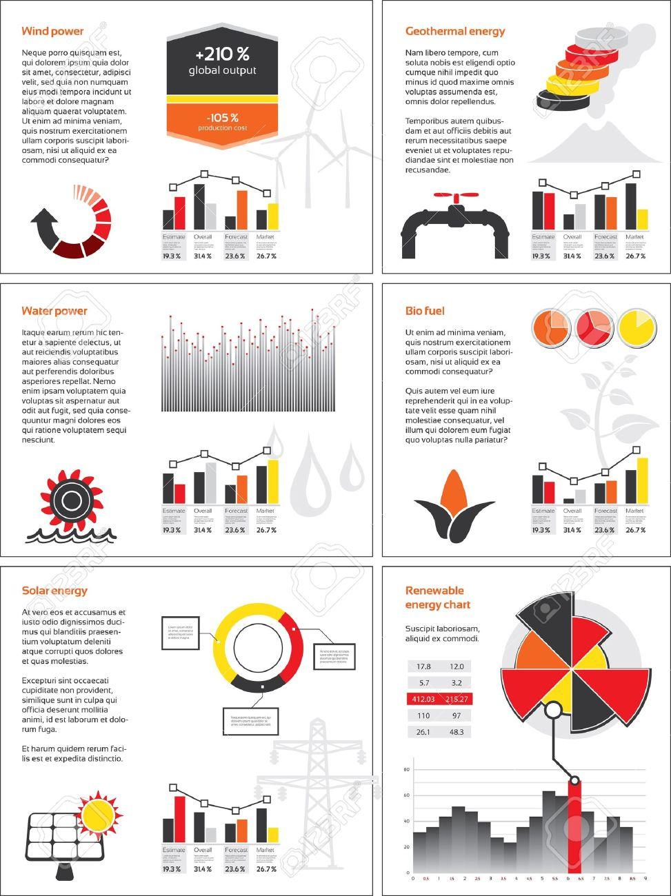 Infografik Mit Grafiken Und Diagrammen Für Erneuerbare Energien ...