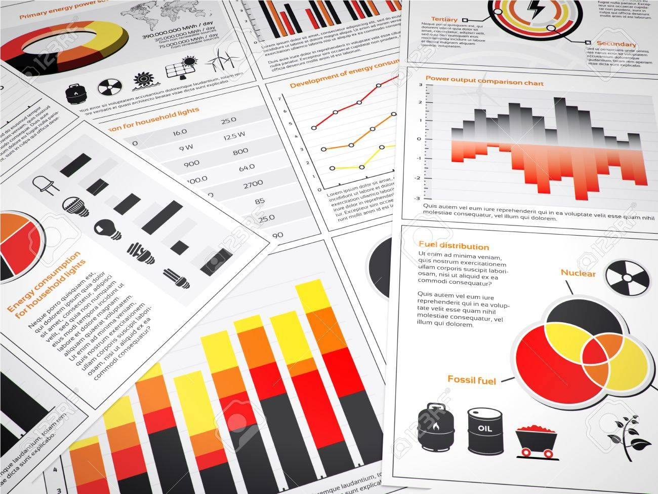 Multiple graphs and charts with energy information and icons stock multiple graphs and charts with energy information and icons stock photo 16676852 geenschuldenfo Image collections