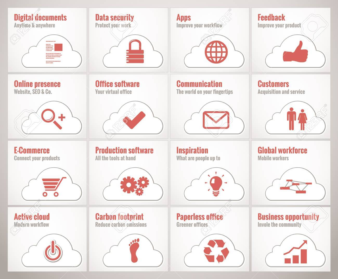 Icons and symbols for cloud online business and offices Stock Photo - 20861270