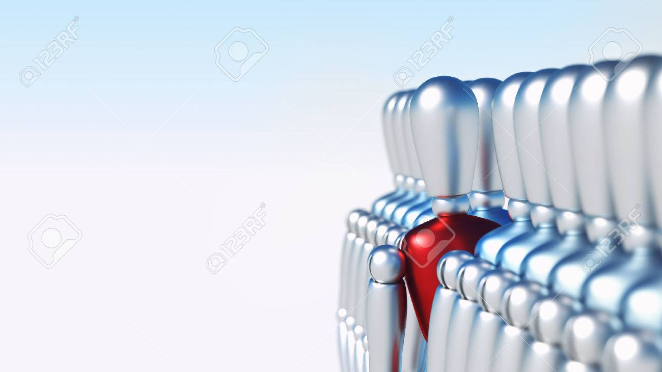 Unique 3D character standing out of the crowd - 43848759