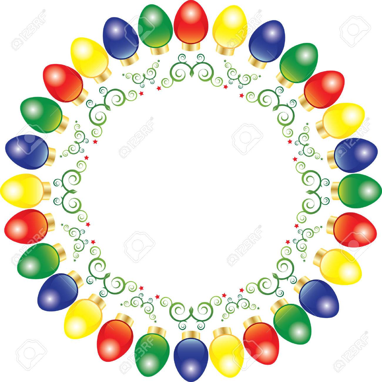 A Wreath Of Bright And Colorful Vector Christmas Lights Royalty ...