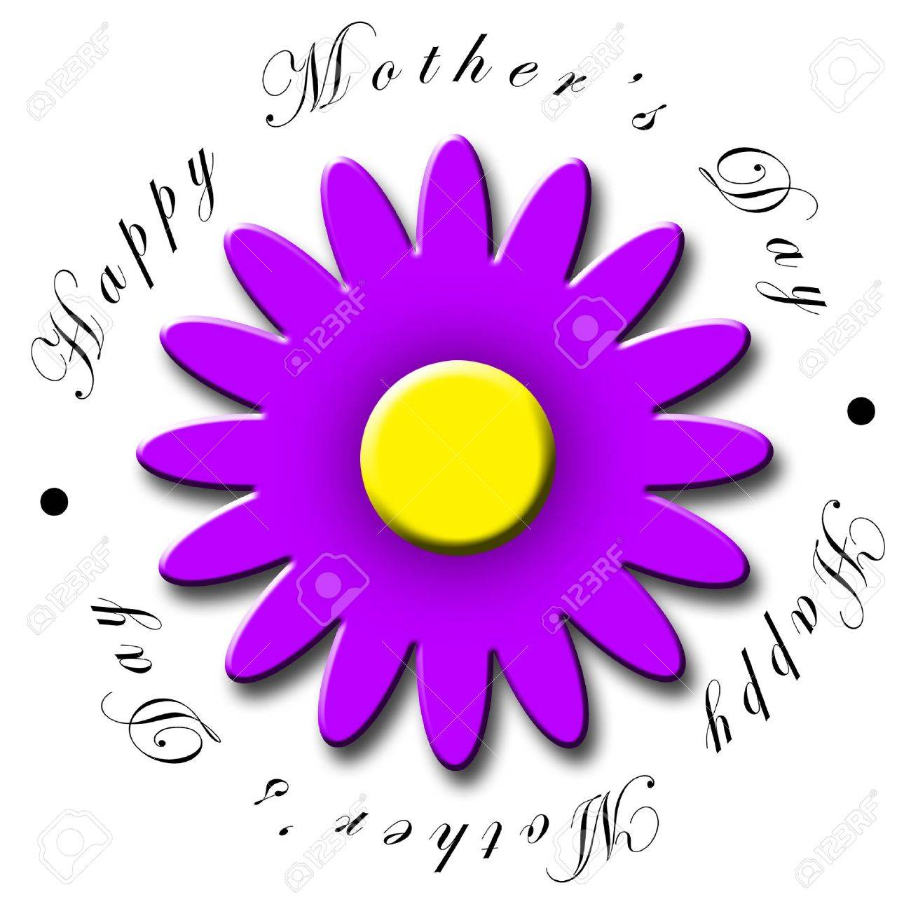 An Illustrated Mothers Day Icon With A Pretty Purple Flower Stock