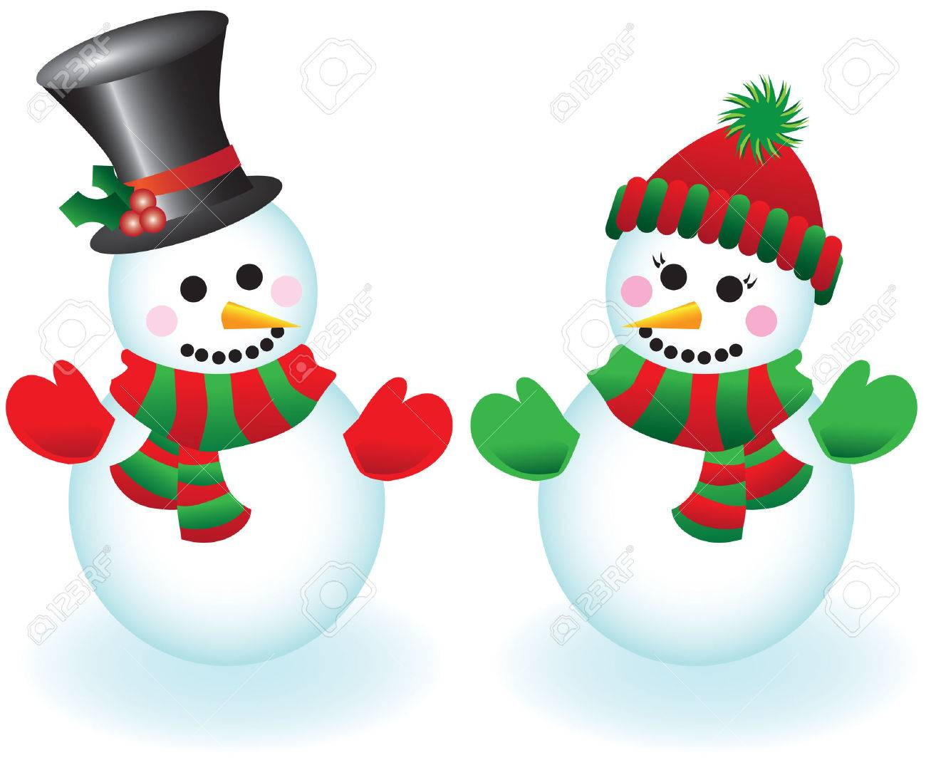 Vector illustration of a happy snowman and snowlady wearing hats, mittens and scarves Stock Vector - 3503711