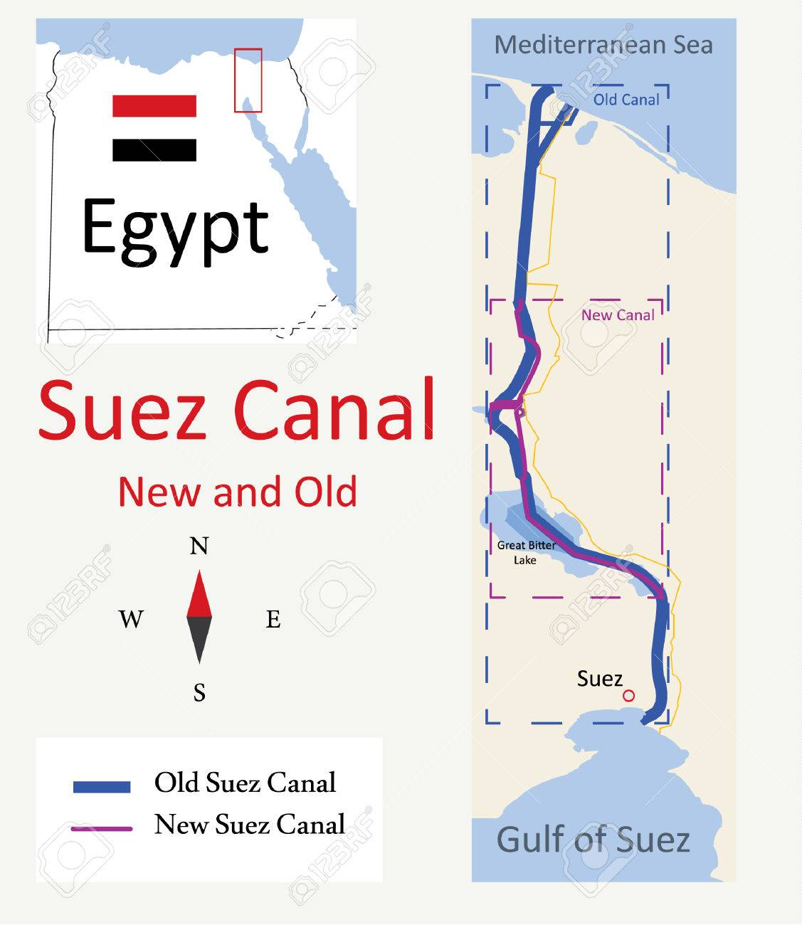 Map Of Suez Canal New And Old Royalty Free Cliparts Vectors And