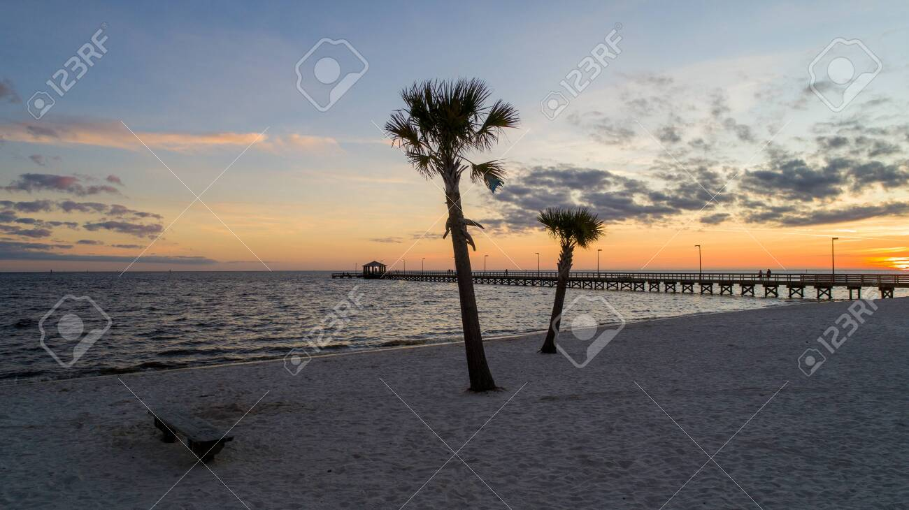Biloxi Mississippi Beach At Sunset Stock Photo Picture And